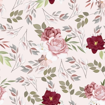Beautiful seamless pattern beautiful flower and leaves