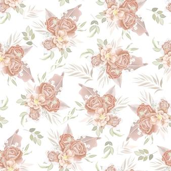Beautiful seamless pattern beautiful flower and leaves.