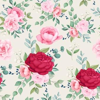 花が咲く美しいシームレスパターン