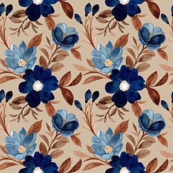 水彩で美しいシームレスパターンの青い花と茶色の葉