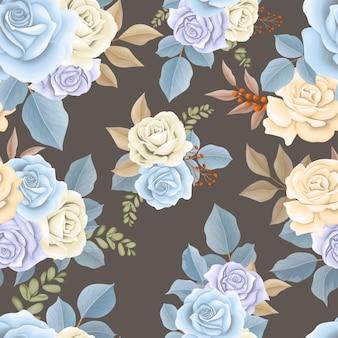 美しいシームレスパターンの青い花と茶色の葉