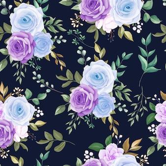 아름 다운 완벽 한 패턴 블루 꽃과 녹색 잎