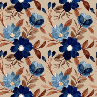 Beautiful seamless pattern blue flower and brown leaves with watercolor