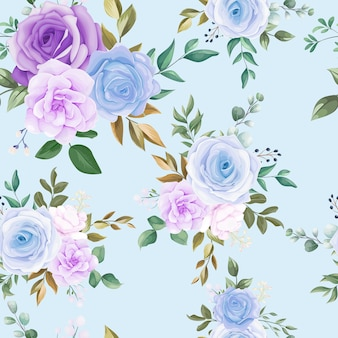 Beautiful seamless pattern blue flower and green leaves