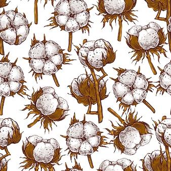 Beautiful seamless pattern of cotton buds. hand-drawn illustration