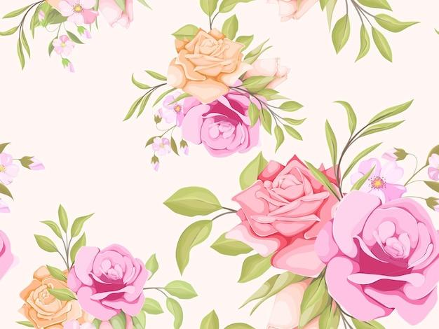 バラと葉と花の美しいシームレスパターンデザイン