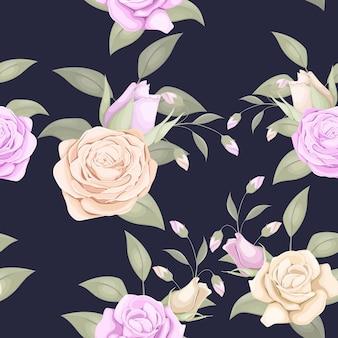 バラと葉を持つ美しいシームレスパターンデザイン