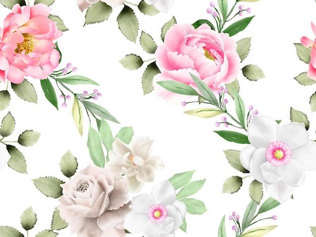 Красивый бесшовный фон цветочная акварель