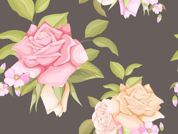 バラと葉と花の美しいシームレスパターン