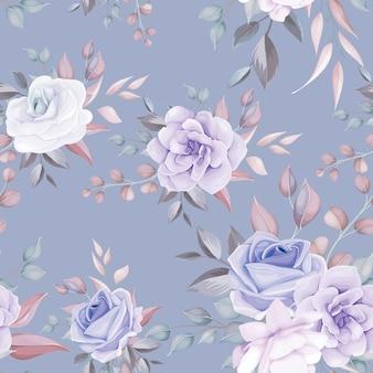 柔らかな紫色の花と花の美しいシームレスパターン