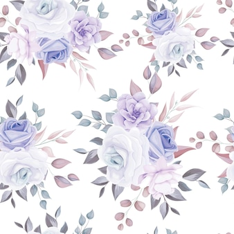 Beautiful seamless pattern floral with soft purple flowers