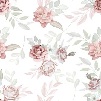 아름 다운 완벽 한 패턴 꽃과 잎
