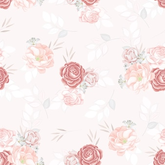 Beautiful seamless pattern flower and leaves