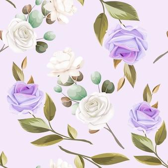 美しいシームレスパターンの花と葉のデザイン