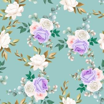 Красивые бесшовные модели цветы и листья дизайн