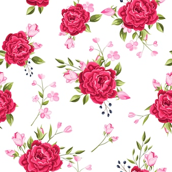Beautiful seamless pattern flowers and leaves