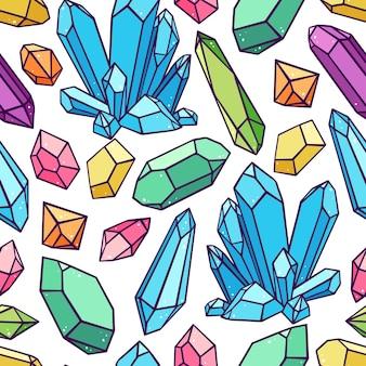 さまざまなクリスタルや宝石の美しいシームレスパターン。手描きイラスト