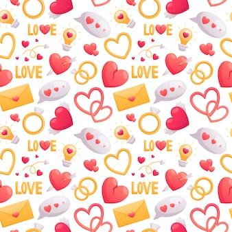 バレンタインデーの漫画のボリュームアイコンの美しいシームレスパターン