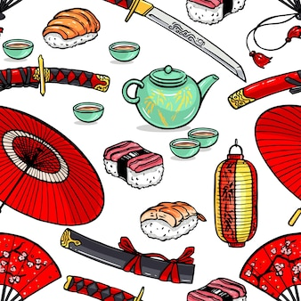 さまざまな日本のシンボルの美しいシームレスパターン。手描きイラスト