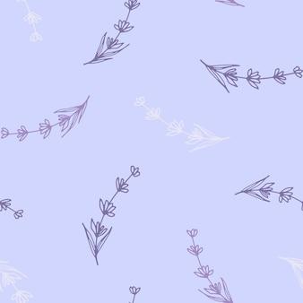 밝은 라일락 배경에 라벤더 꽃의 아름다운 매끄러운 패턴입니다.