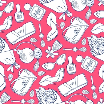 ピンクとブルーの女性要素の美しいシームレスパターン