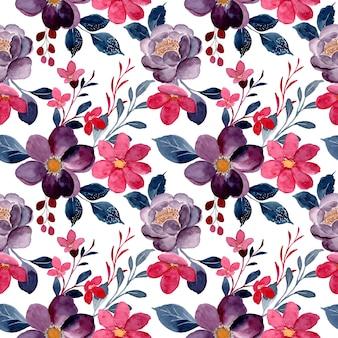 水彩画と赤いバーガンディの花の美しいシームレスパターン