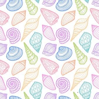 스케치 색 조개의 아름 다운 완벽 한 패턴입니다. 손으로 그린 그림