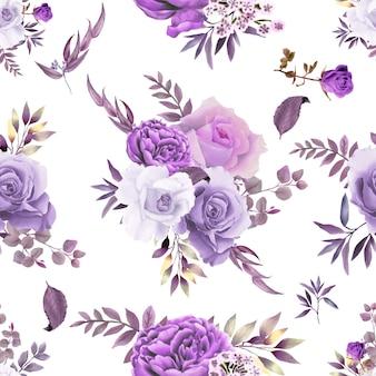 Красивый бесшовный узор фиолетовый цветок тема