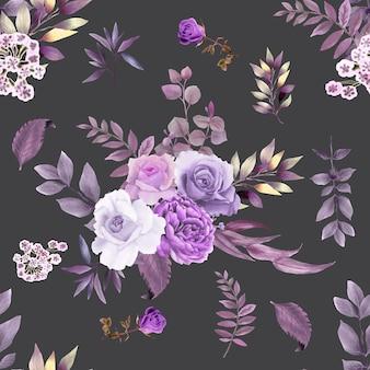Красивый бесшовный узор фиолетовый цветок тема Premium векторы