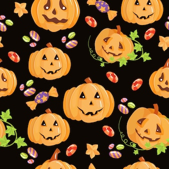 Beautiful seamless pattern. sweets, pumpkins, candies. set of elements for the celebration of halloween. vector illustration isolated on white background.
