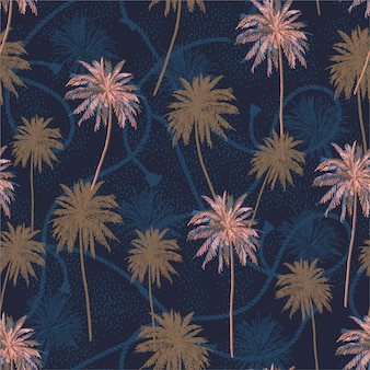 Beautiful seamless pattern tropical plam trees layer on sailor rope texture summer mood seamless pattern.