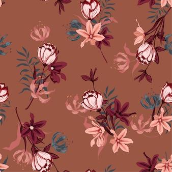 チューリップの花と美しいシームレスなパターンのベクトル