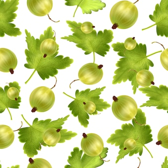 Beautiful seamless pattern with 3d realistic green gooseberry. seamless pattern with 3d mesh green gooseberry.