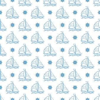 ヨットとハンドルの手描きイラストと美しいシームレスパターン