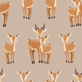 茶色の背景に大人と赤ちゃんの鹿と美しいシームレスパターン。