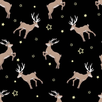 Beautiful seamless pattern with adult and baby deers on brown background. backdrop with cute and funny cartoon forest animals. vector illustration for textile print, wallpaper, wrapping paper.