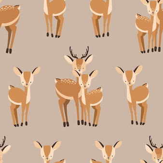 Beautiful seamless pattern with adult and baby deers on brown background.