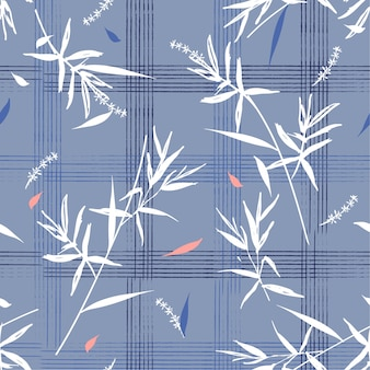 Beautiful seamless pattern with bamboo leaves on hand drawn grid check