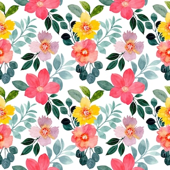Beautiful seamless pattern with colorful floral watercolor
