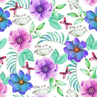 色とりどりの花で美しいシームレスパターン
