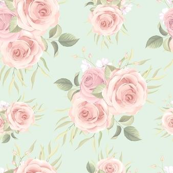カラフルなバラと美しいシームレスパターン