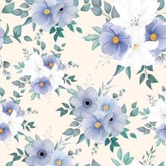 エレガントな花と葉を持つ美しいシームレスパターン