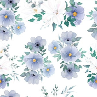 Beautiful seamless pattern with elegant flower and leaves