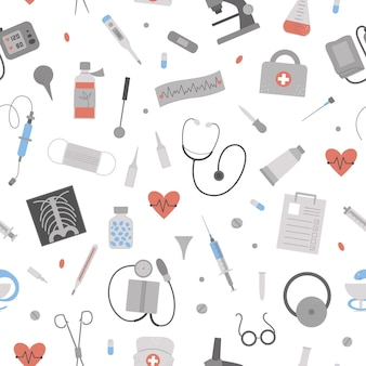 Beautiful seamless pattern with flat medical icons