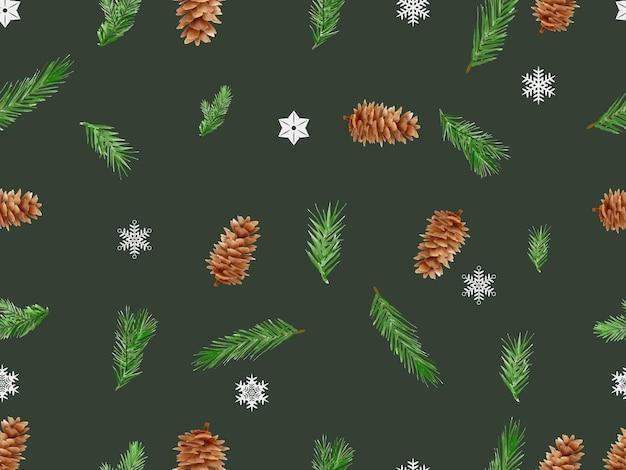 Красивый бесшовный узор с цветочным и рождественским орнаментом