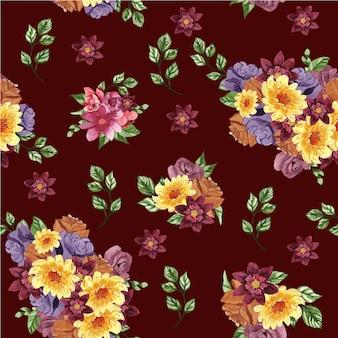 꽃과 잎이 빨간색 배경에 아름 다운 완벽 한 패턴