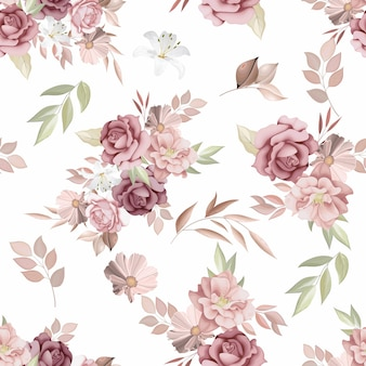 Beautiful seamless pattern with flowers and leaves