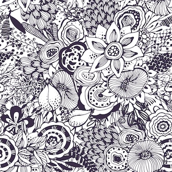 Beautiful seamless pattern with hand drawn floral fantasy nature motif, flowers, plants, branches. black and white endless vector background.
