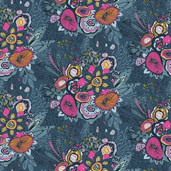Beautiful seamless pattern with hand drawn floral fantasy nature motif, flowers, plants, branches. colorful endless vector background.