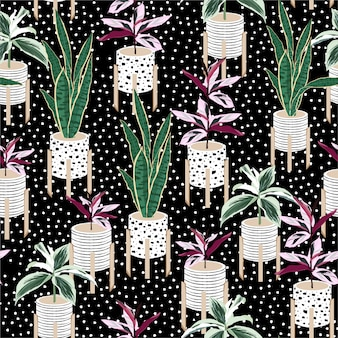 Beautiful seamless pattern with hand drawn home plants botanical in pots mix with hand paint white polka dots